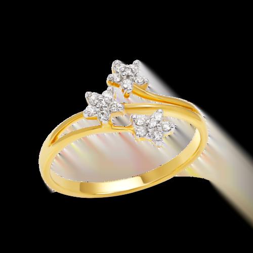 Triple Flowers Cluster Ring