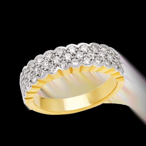 Triple Row Engagement Ring