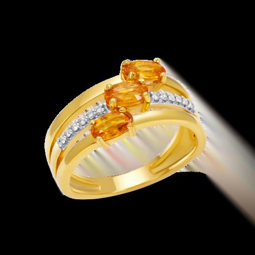 Three Oval Orange Ring