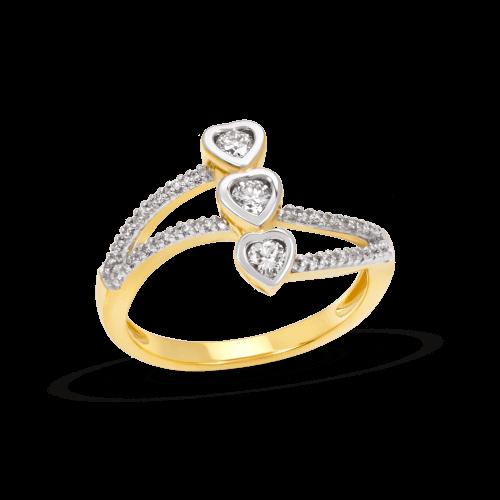 Triple Heart Bezel Ring