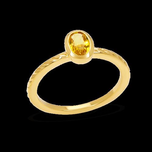 Yellow Sapphire Bezel Ring