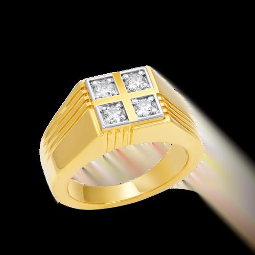 Four Diamond Square Ring