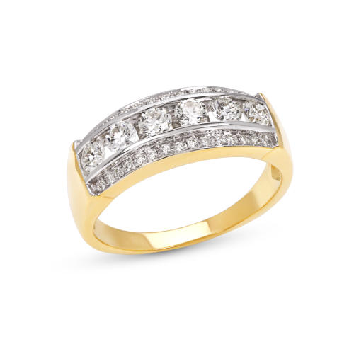 Stepped Rows Man Ring