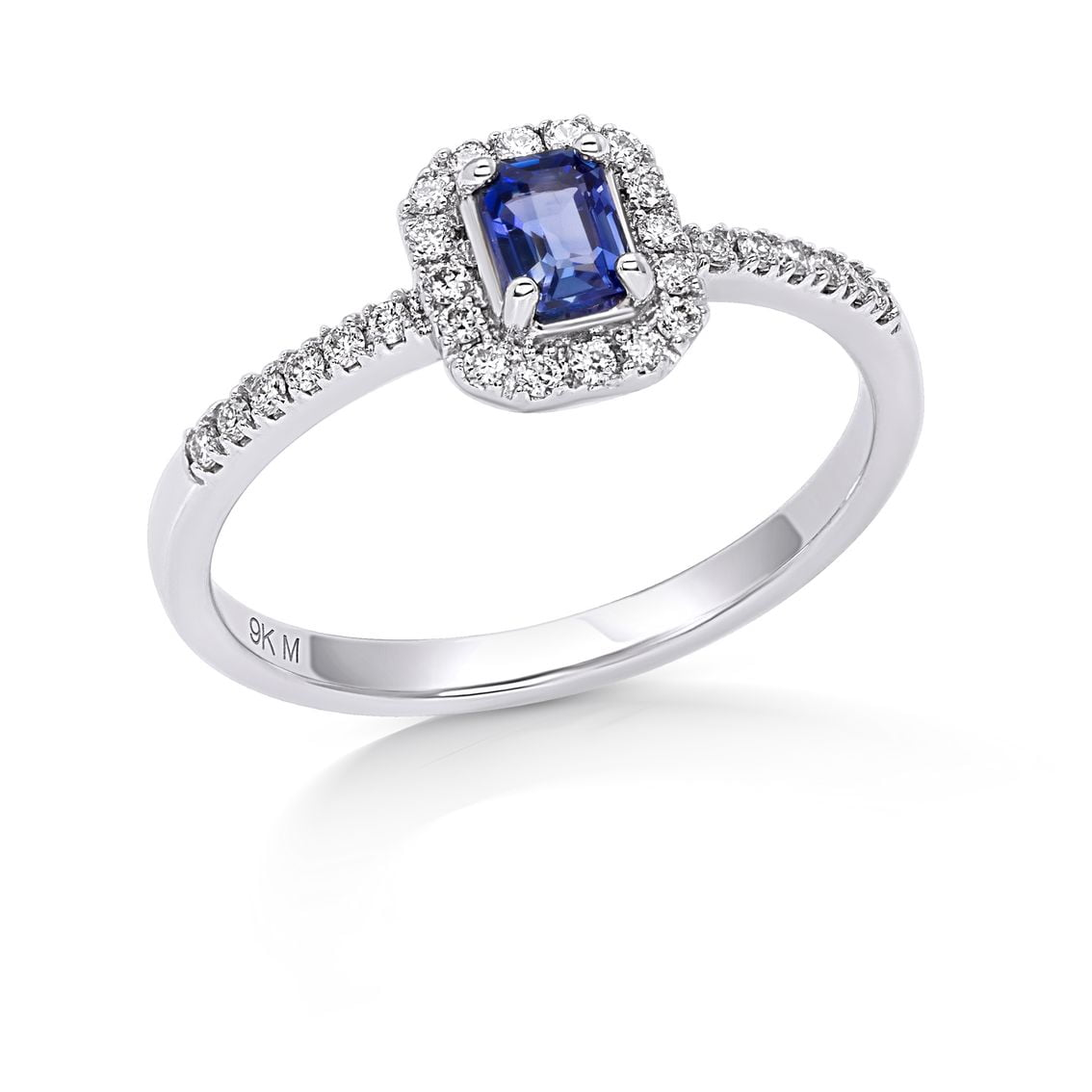 Emerald Halo Blue Sapphire Ring