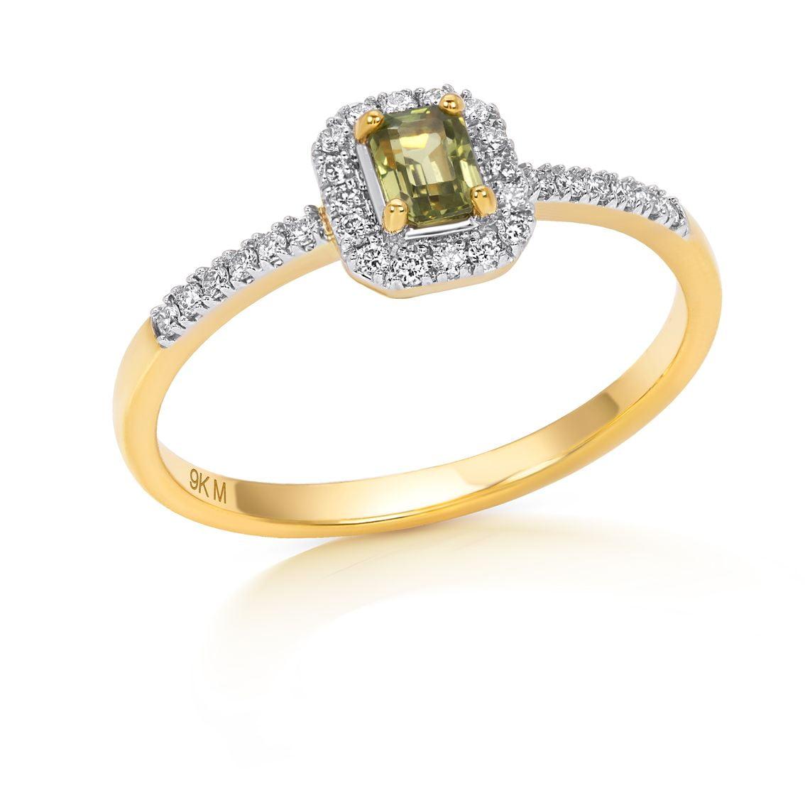 Emerald Halo Green Sapphire Ring