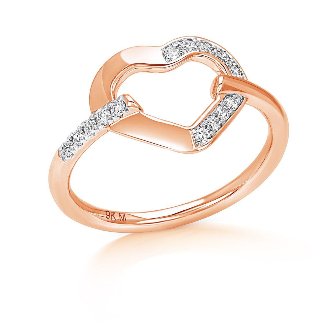 Half Diamond Line Heart Ring