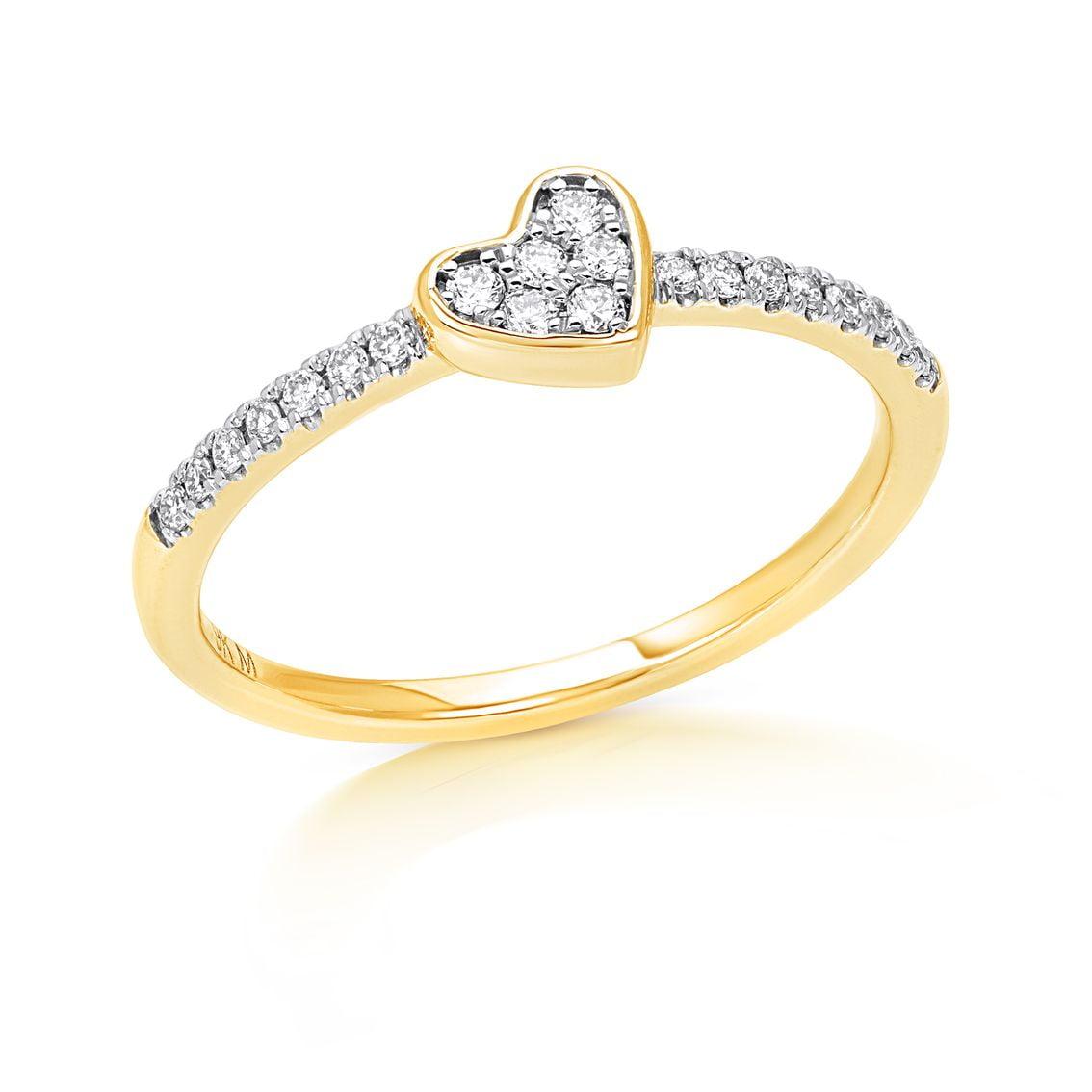 Bezel Set Heart Ring - 2