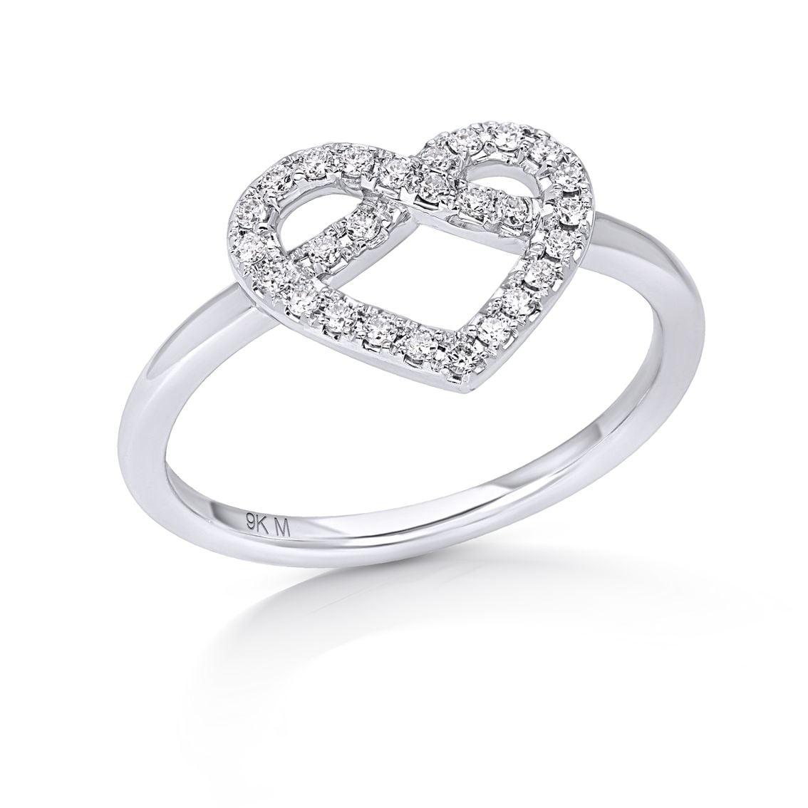 Diamond Line Heart Ring