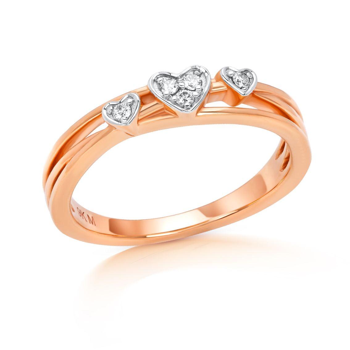 Three Heart Diamond Ring